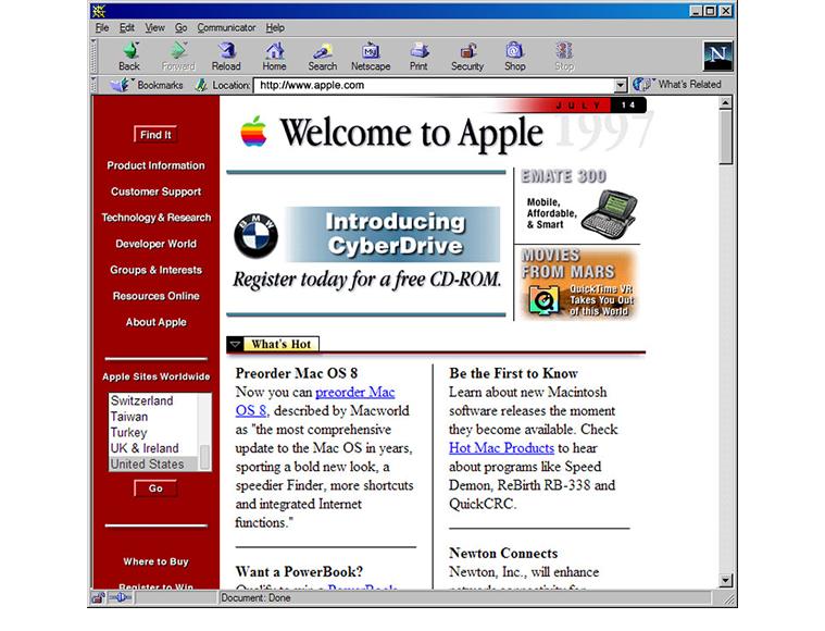 Apple Website 1990s