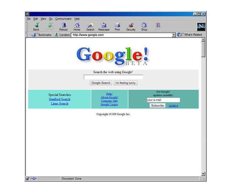 Google Beta Website 1990s