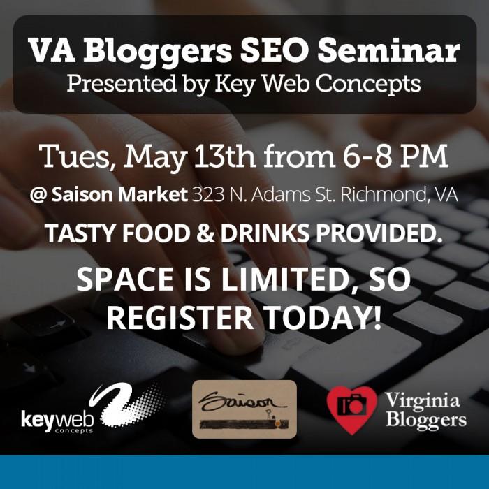 VA Blogger SEO Seminar graphic - square