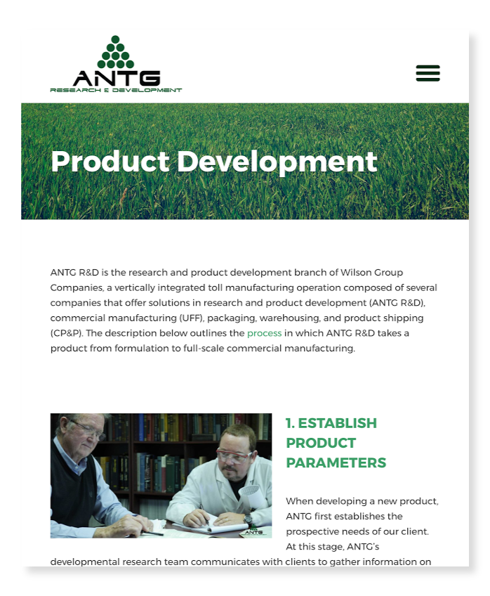 ANTG website on tablet