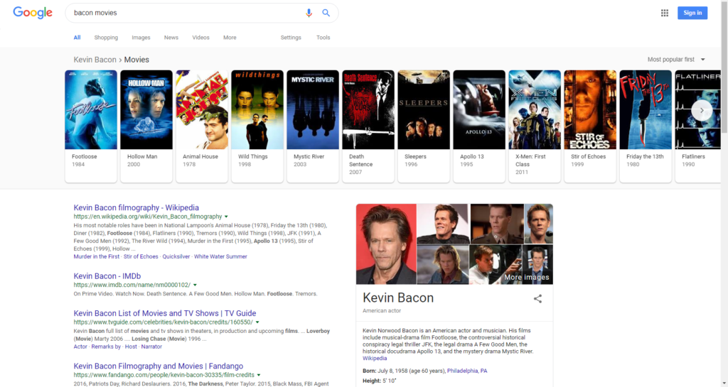 """google search for """"bacon movies"""""""
