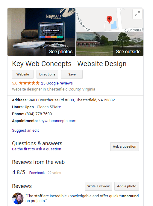 example of knowledge graph for key web concepts, a web design firm in richmond va