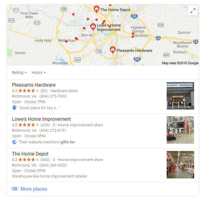 """example of local pack Google search results for """"hardware gift ideas richmond"""""""