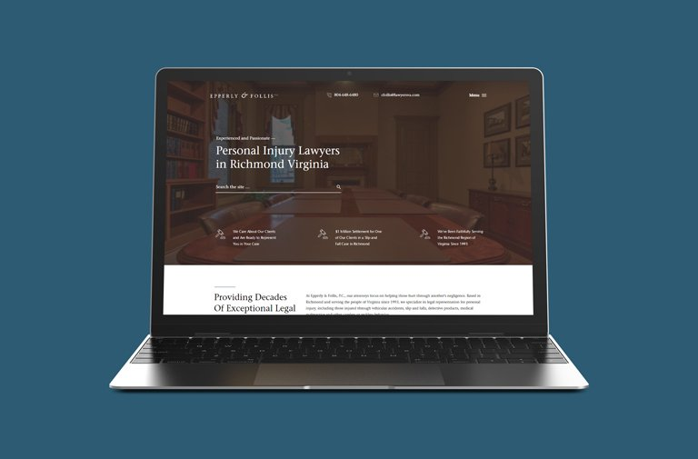 Modern web design for Epperly and Follis law firm in Richmond, VA